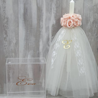 Square acrylic box and bouquet flower and lace candle with initial.