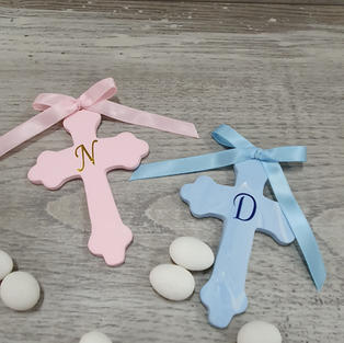 Handmade 10cm cross with initial. Also available in other colour variations.