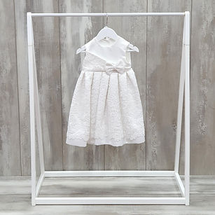 Satin christening dress with lace
