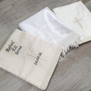 Satin and silk stole/sash. Various trimmings available in both white and ivory.