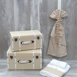 Set of 2 wooden suitcases and personalised candle with Premium contents.