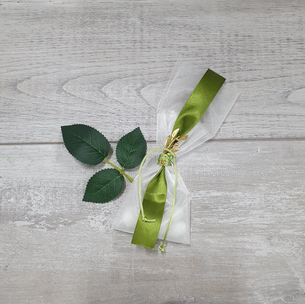 Organza pouch with gold plated olive leaf embellishment