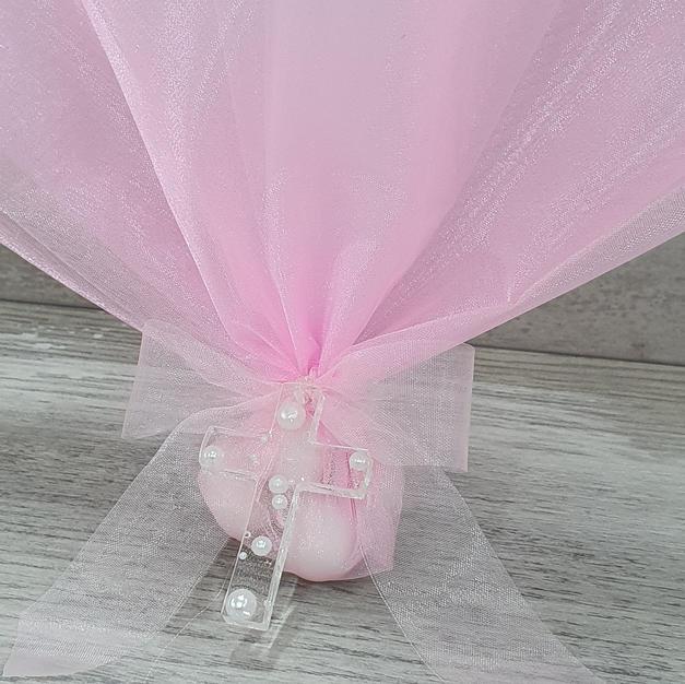 Handmade 5cm Luna pearl resin cross on pink organza