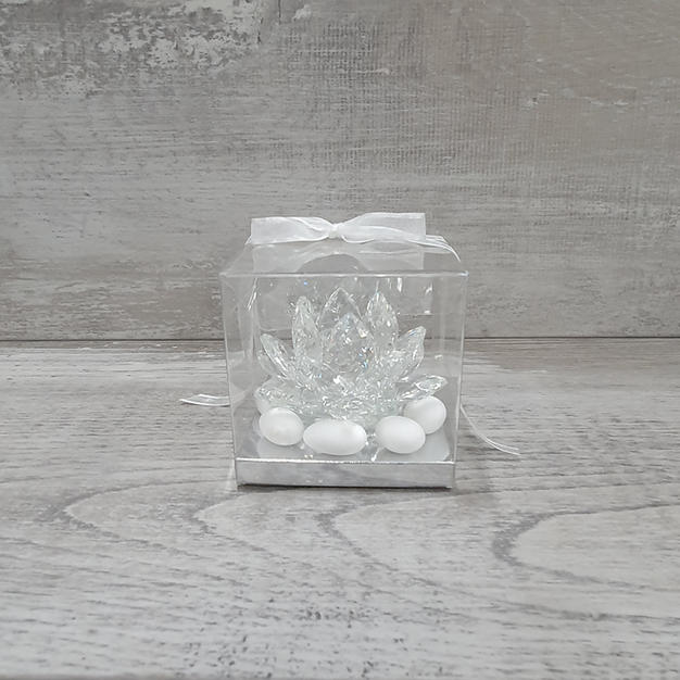 Crystal piccolo lotus complete in box with sugared almonds