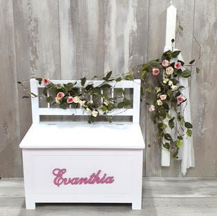 Personalised park bench chair storage box with roses and matching candle.