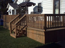 Deck Railing and Stairs Wood Home Impovement Decking
