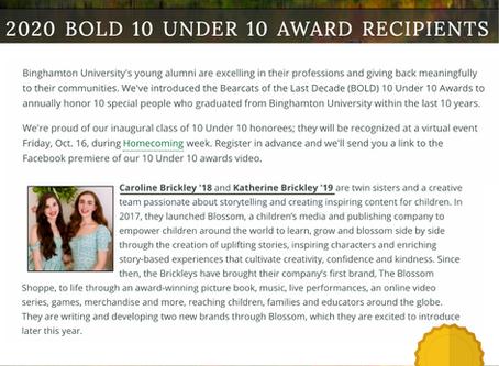 Co-Founders, Caroline and Katherine, Win BOLD 10 Under 10 Award
