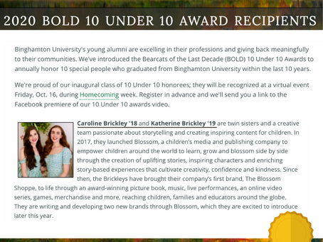 Co-Founders, Caroline and Katherine, Win BOLD 10 Under 10 Award