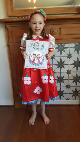 """Yvette with her """"The Blossom Shoppe"""" book & costume bundle!"""