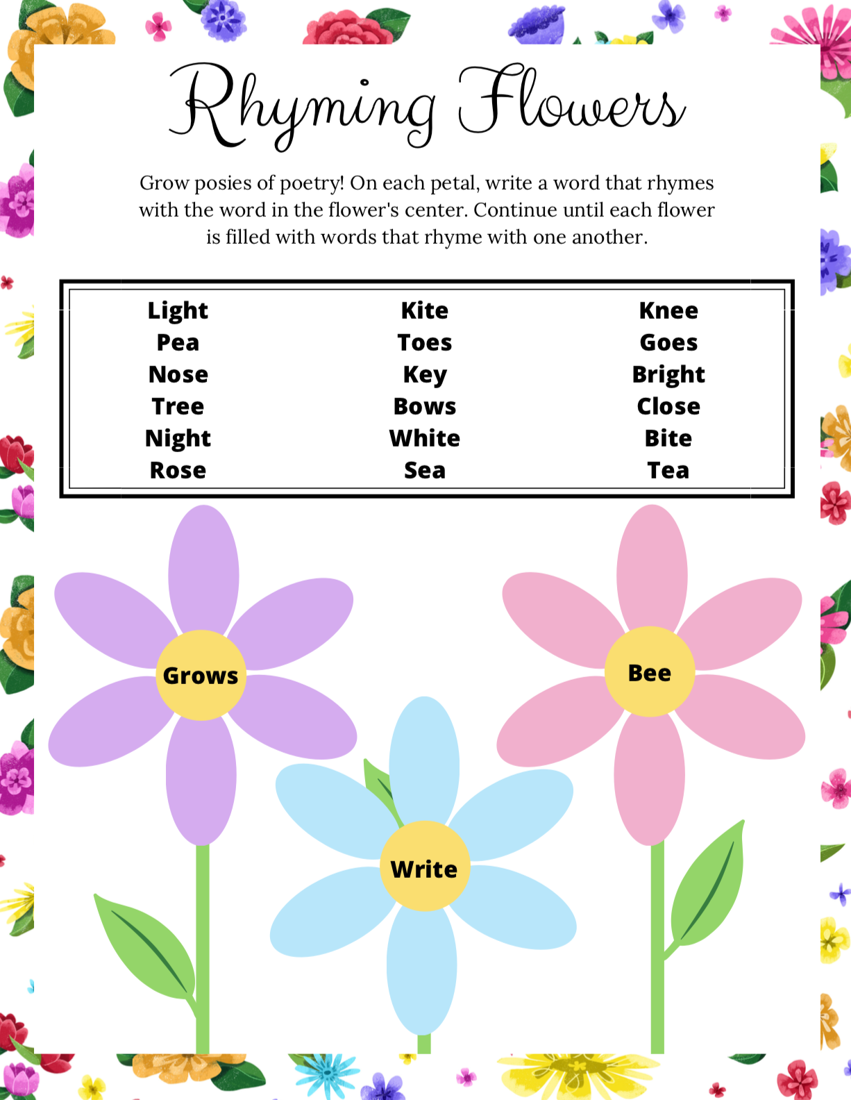 Poppy & Posie's Rhyming Flowers Game - The Blossom Shoppe