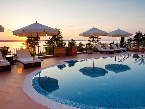 Sunset overlooking pool