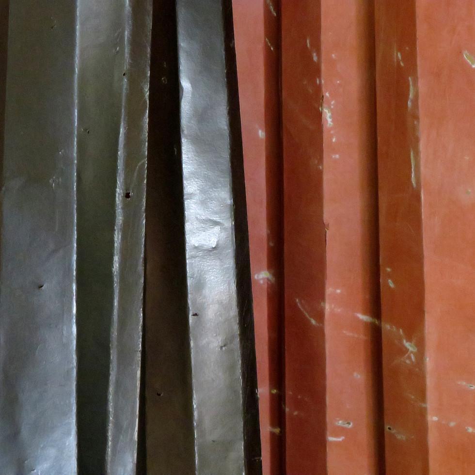 Media; Graphite paste, floor polish, acrylic paint, paper