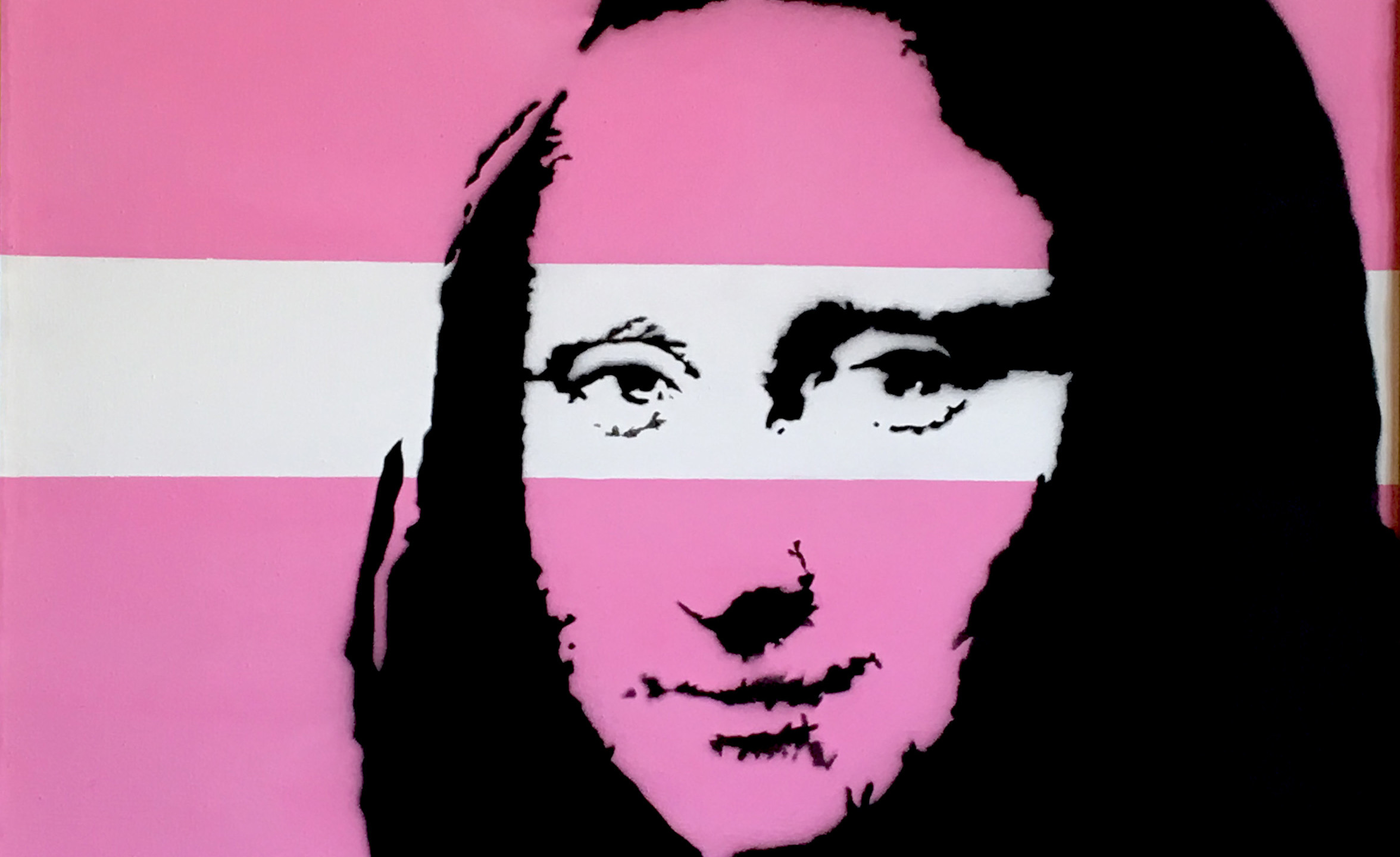 Banksy's Mona Lisa in pink that you see here is a little different. This stenciled canvas is like a mash-up of two different artists' work the classic image of Leonardo da Vinci combined with the pop art style of Andy Warhol. There is also another version of this Mona Lisa, although it is in bright green.