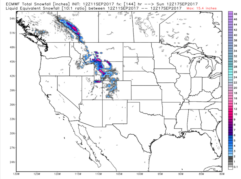 Possible 1st snow in the Rockies Fri/Sat....keep in mind this is still 4 days out....and will likely