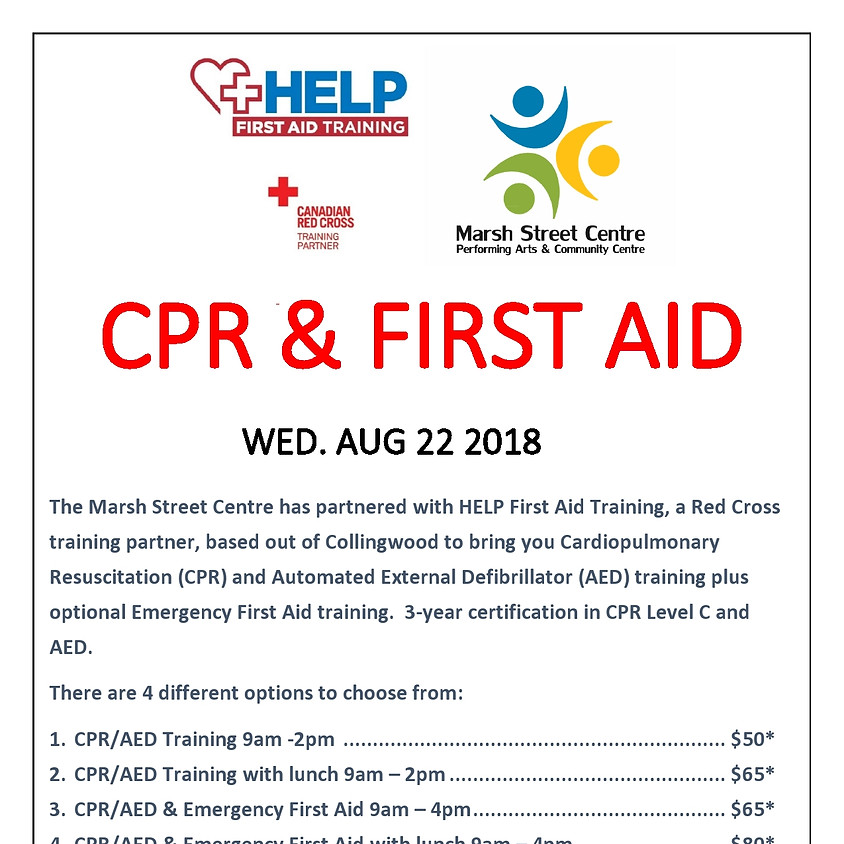 CPR and FIRST AID Training and Certification - August 22 2018