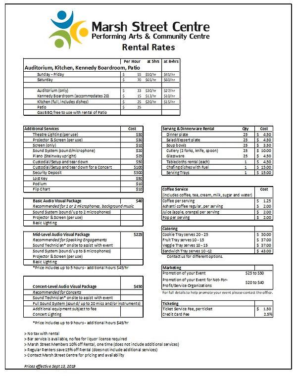 MSC Rental Rates effective Sept 13 2019.