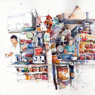 Noodle stall seller