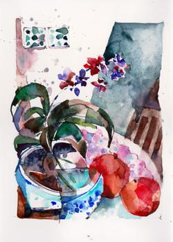 Pot of Purple Orchids