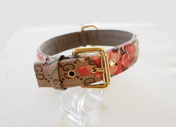 Dog Collar in beige with flowers . Italian Design