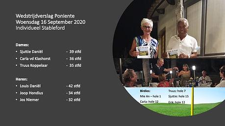 wedstrijdverslag Poniente 16 september 2