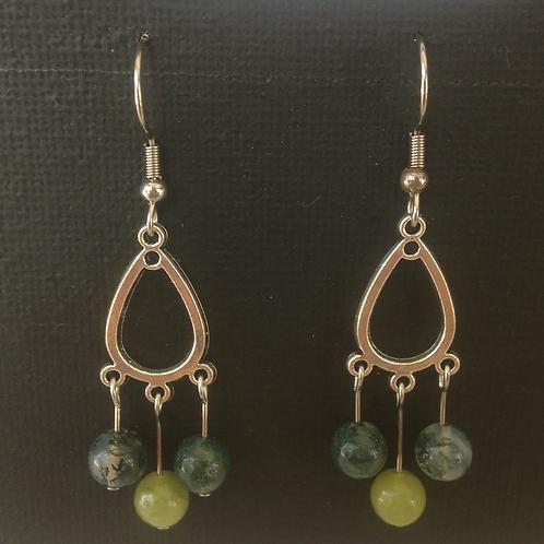 Boucles d'oreilles, Agate et jade