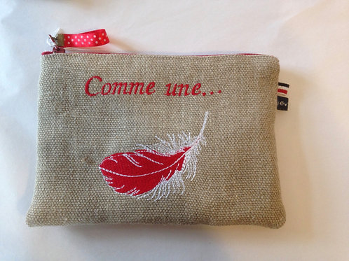 """Trousse lin """"plume rouge"""""""