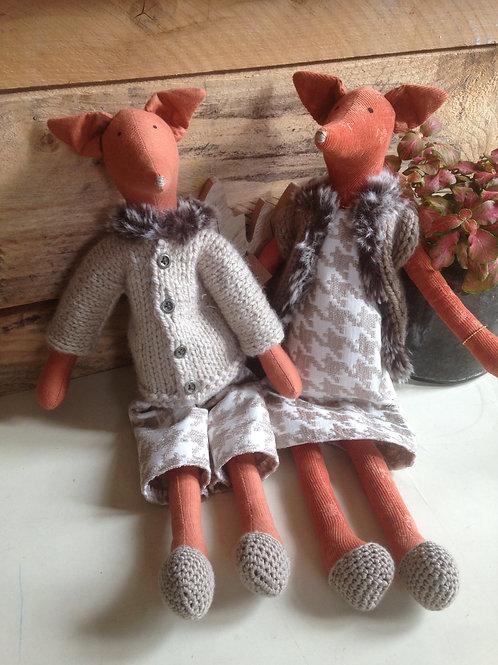 Renards, poupée - tissus