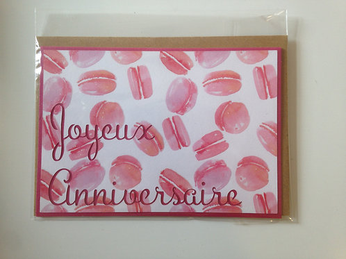 "Carte ""Anniversaire-macarons"""