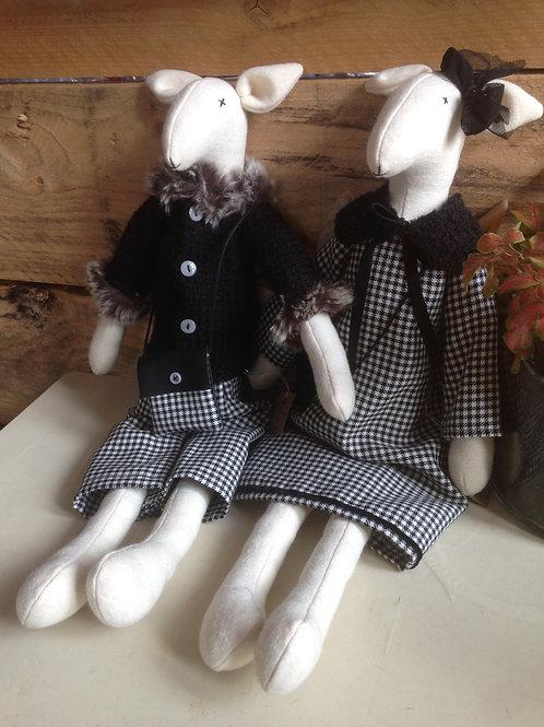 Couple Agneaux, poupée - tissus