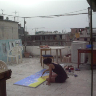painting on a rooftop in Beirut Lebanon