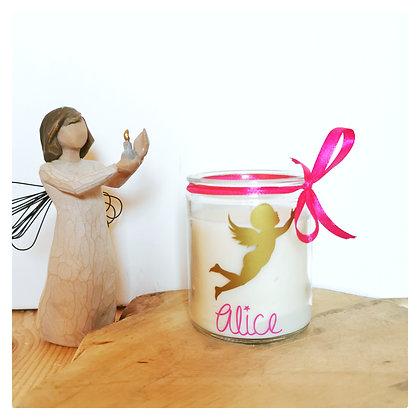 Bougie petit ange doré + prénom coloris au choix