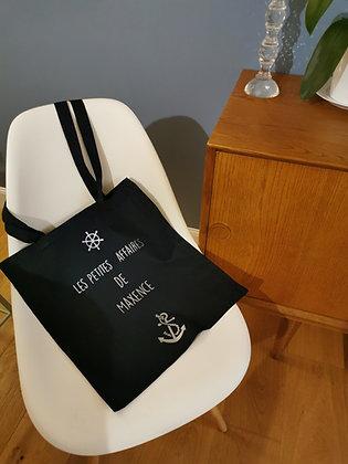"""Tote bag """"Les petites affaires de"""" + prénom  + motif encre marine et gouvernail"""