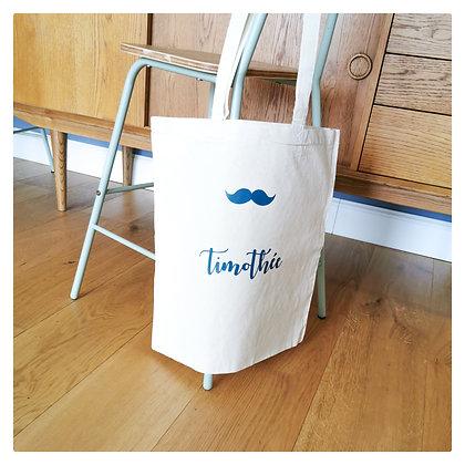 tote Bag prénom + motif moustache