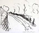 Chemin à Journans 2005, 20x30, fusain, Christine Lévy-Rostagnat