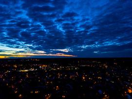 Aerial sunset skyline