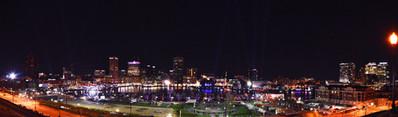Panoramic night view of Baltimore Harbor