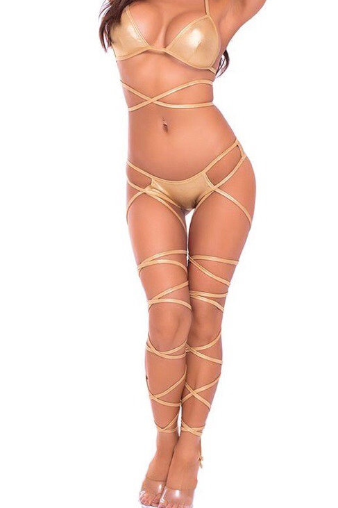 Laced Up Lover 2pc Bra Set Gold