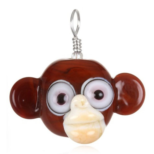 Monkey Pendant Necklace on Leather