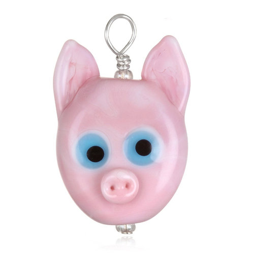 Pig Pendant Necklace on Leather