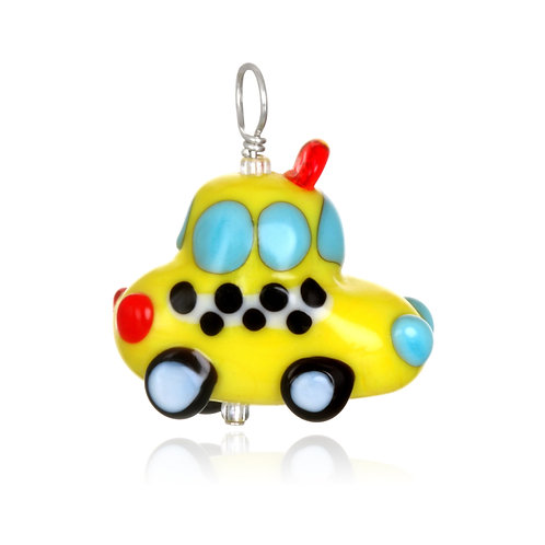 Yellow Cab Pendant Necklace on Leather