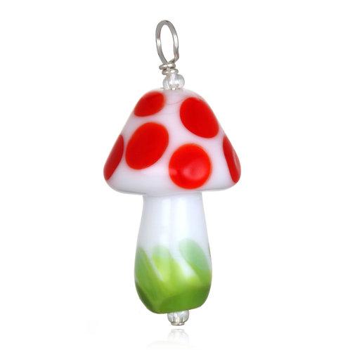 Mushroom Pendant Necklace on Leather