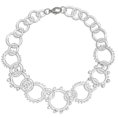 Glass Statement Wheel Chain Necklace