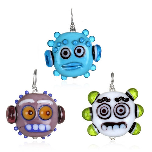 Robot Zombie Pendant Necklace on Leather