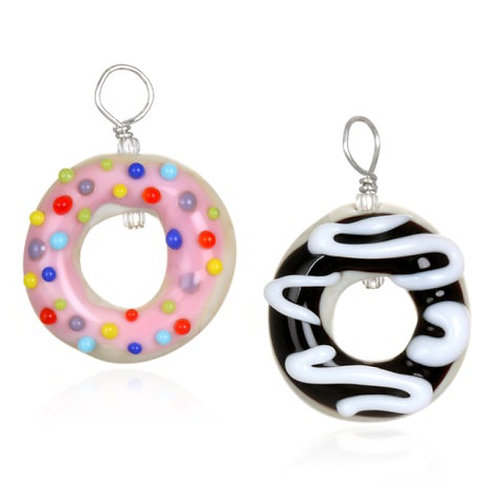 Donut Pendant Necklace on Leather