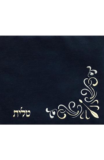 סט לטלית ולתפילין - בד אימפלה - פרח פינתי - כחול כהה