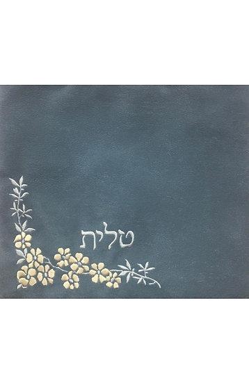 סט לטלית ולתפילין - בד אימפלה - פרח פינתי - אפור תכלת