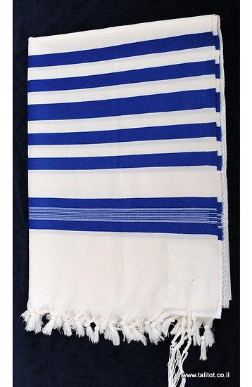 """טלית גדול מצמר דגם """"כתר"""" / כחול"""