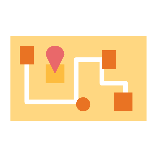 Orange map or Road Map with trail, rectangles, circle, square and shapes