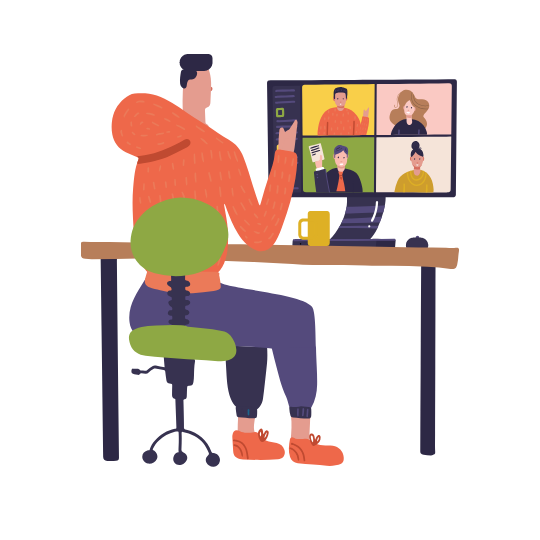Remote team conducting interview while working from home due to Covid