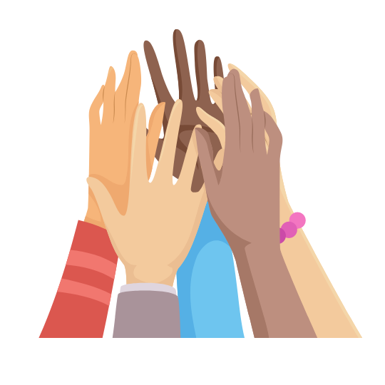 Gather Support and Teamwork. Raised hands in solidarity
